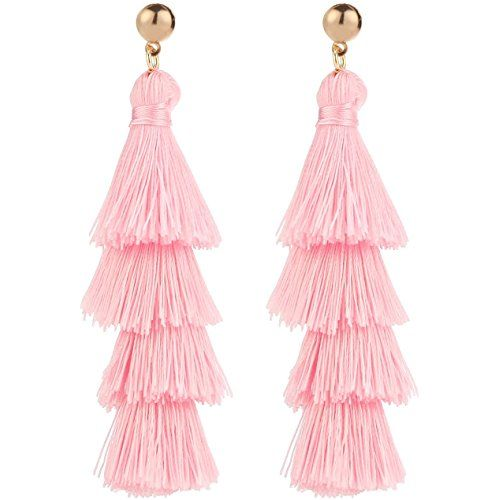 1788201fa BaubleStar Fashion Gold Tassel Dangle Earrings Layered Long Bonita Tiered  Pink Thread Tassel Drop Statement Jewelry for Women Girls