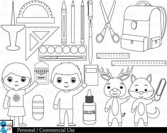 Outline School Supplies Digital Clipart Clip Art Graphics