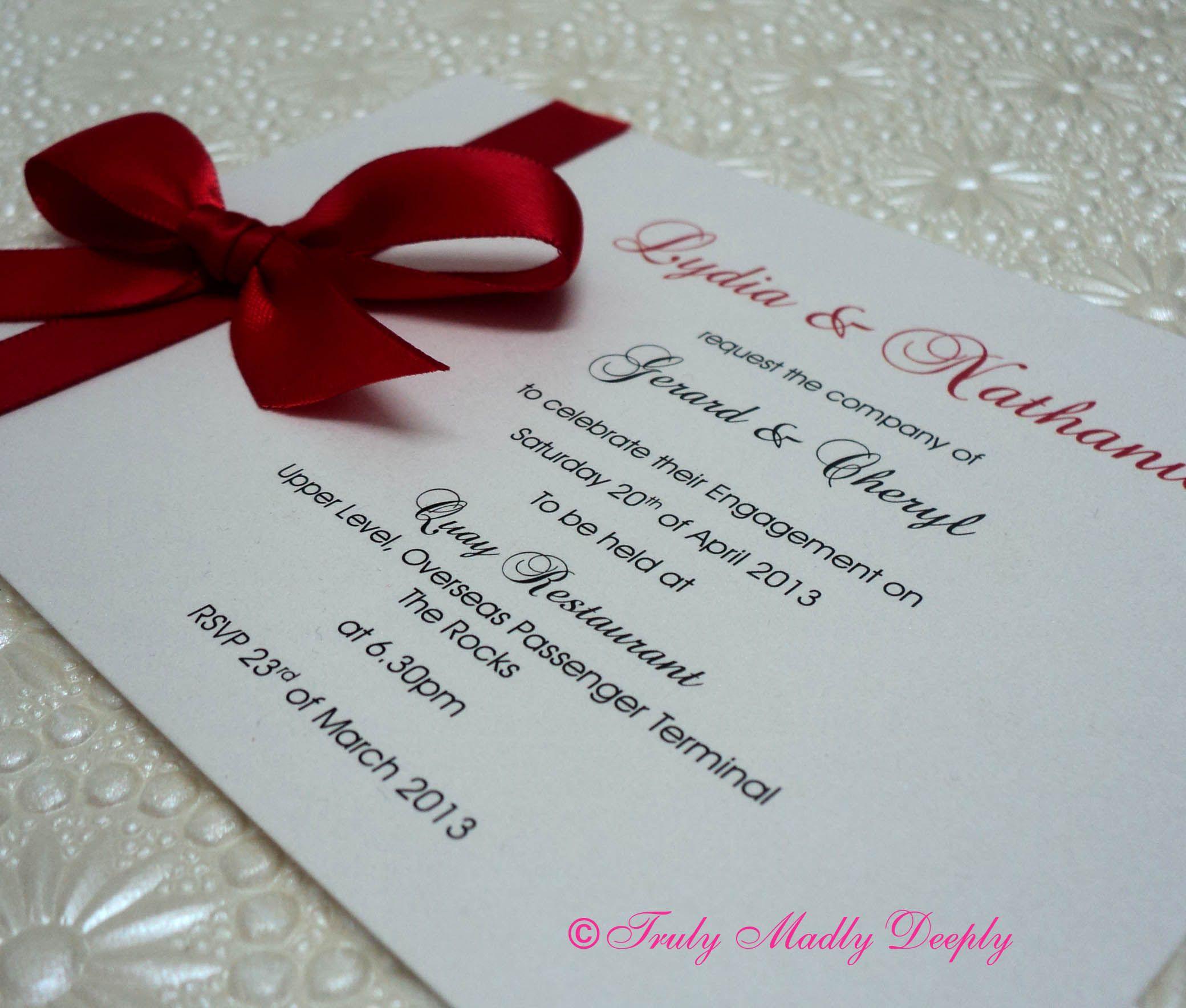 C6 Red Ribbon DIY Wedding Invitation. Simple but very elegant ...