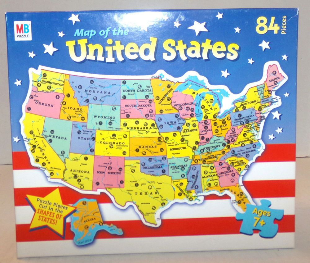 Map of the United States USA Jigsaw Puzzle 84 pieces Hasbro/Milton ...