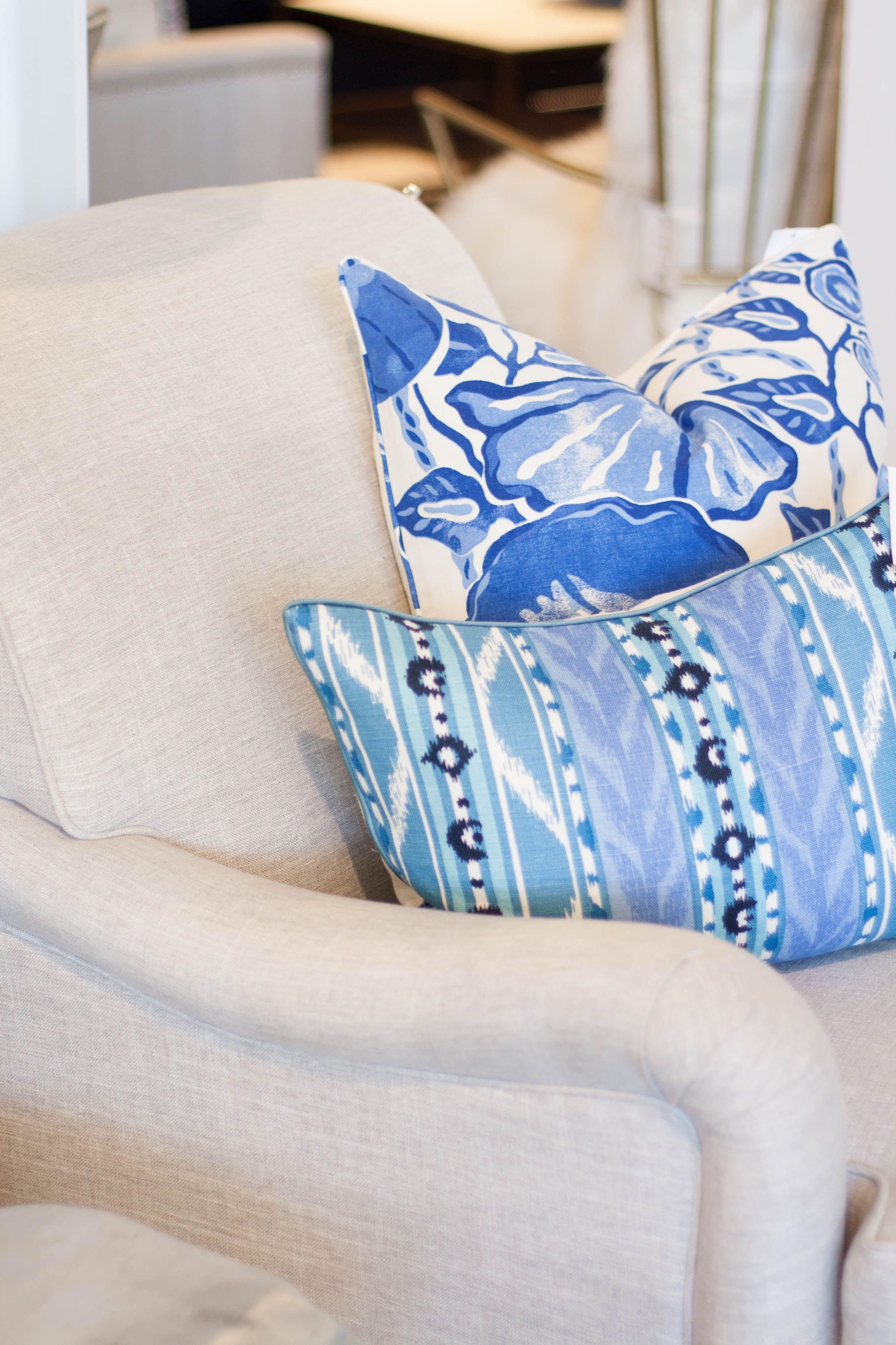 Linen arm chair with blue print pillows cojines pinterest