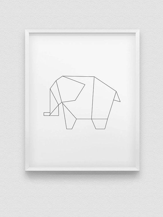 Origami Elephant Print Black Pink Blue White Home Decor Kids Room