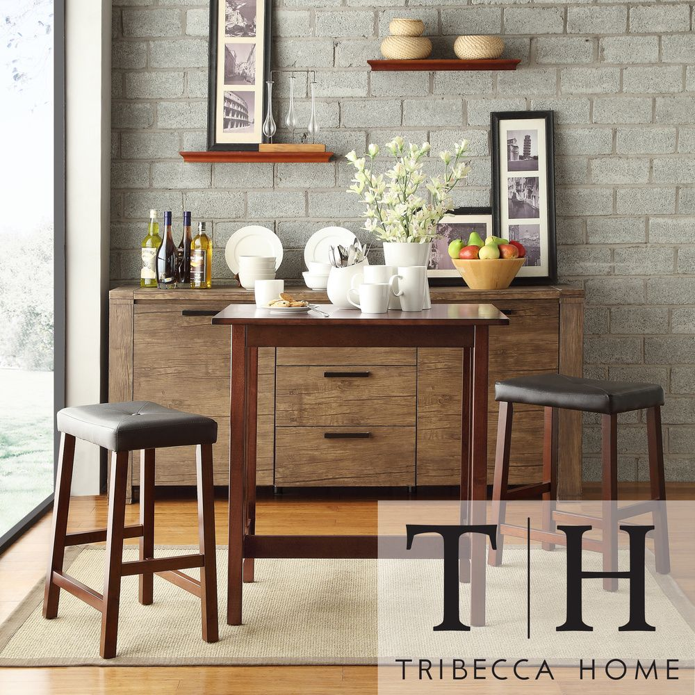 Dining Table Set Deals: TRIBECCA HOME Nova Cherry 3-piece Kitchen Counter Height