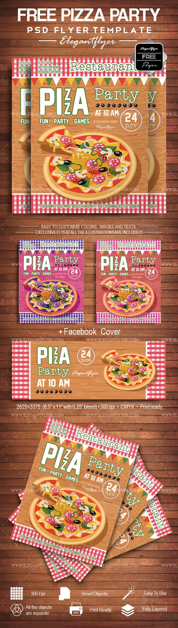 Pizza Party- Free Flyer PSD Template