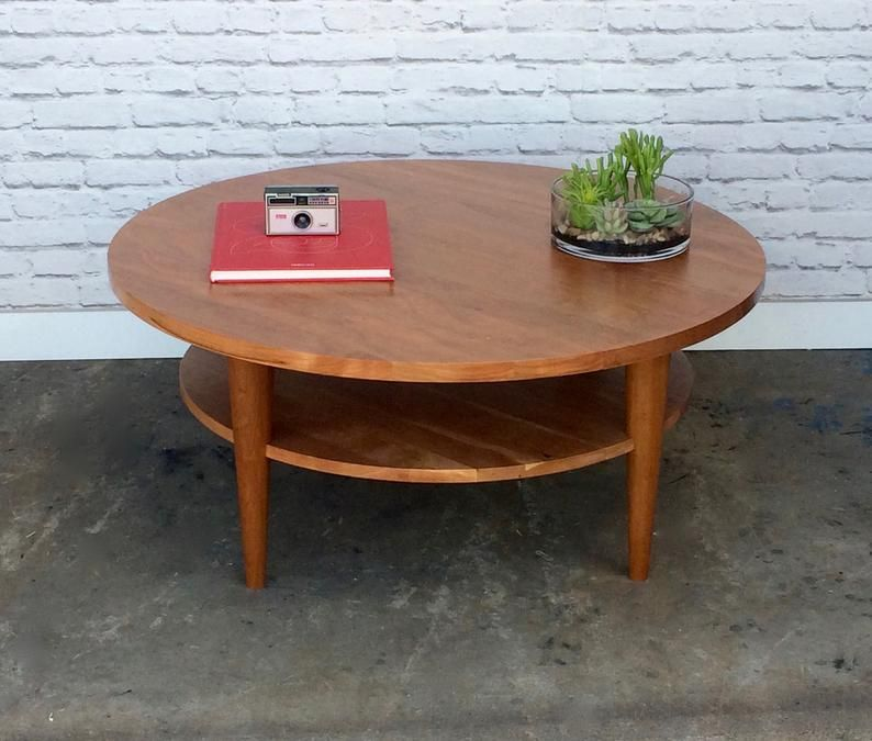Phenomenal Round Coffee Table Oxelaand Solid Cherry Etsy Lamtechconsult Wood Chair Design Ideas Lamtechconsultcom