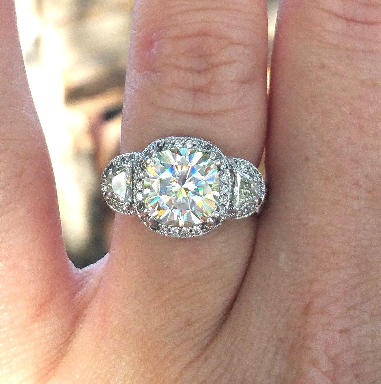 5.68ct Cushion Diamond & Half Moon Diamonds Engagement