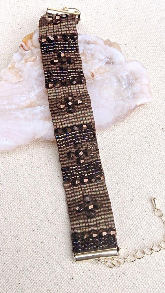 Loomed Bracelet  Beaded Loom Bracelet  by desertshinejewelry