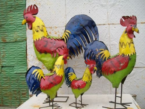 49 034 Recycled Metal Rooster Colorful Tin En Lawn Decor Yard Ornament