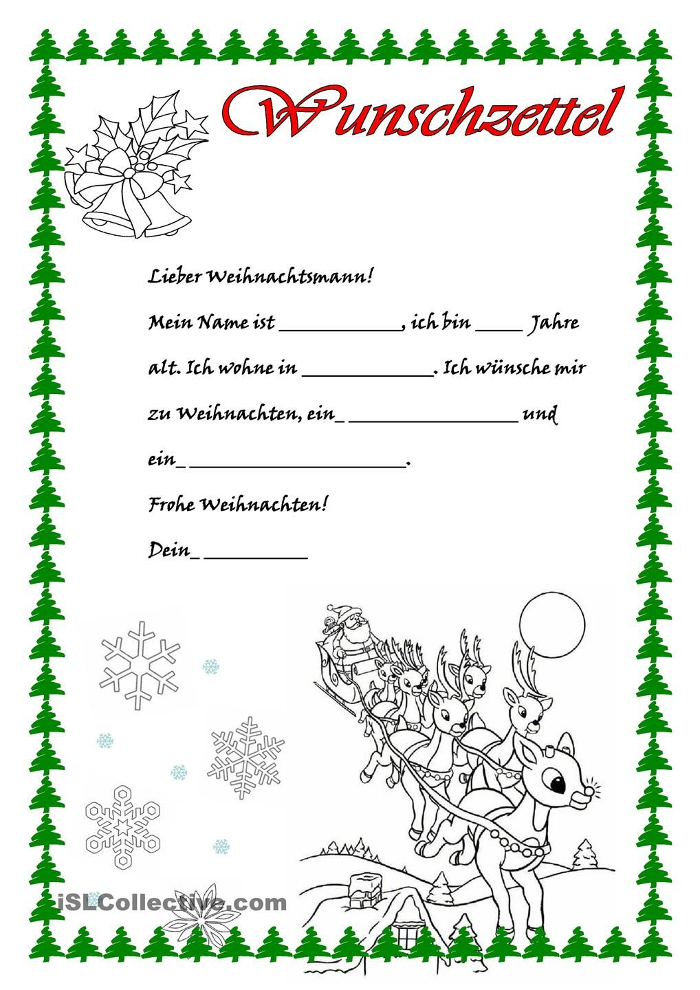 Wunschzettel | Deutsch | Pinterest | German, Kindergarten and Craft