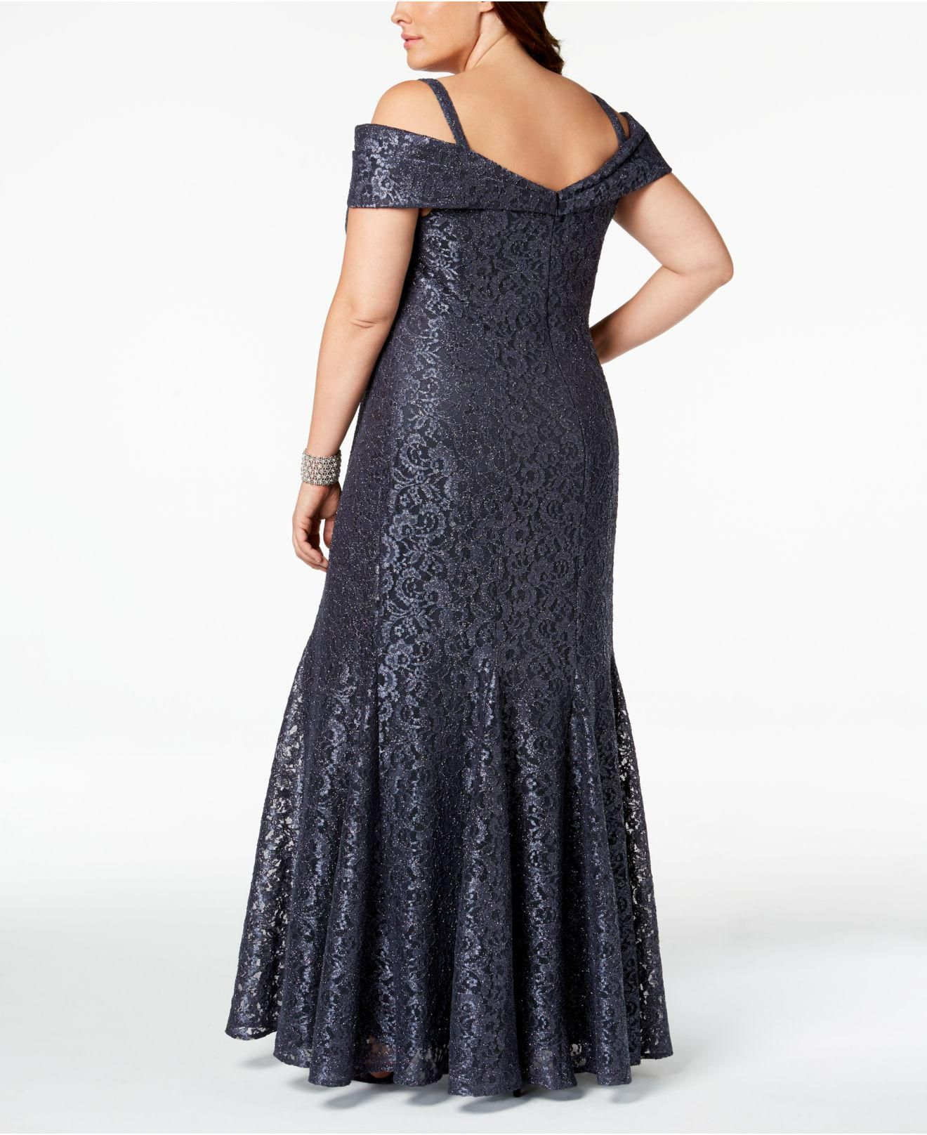 R & M Richards Plus Size Offtheshoulder Lace Gown in