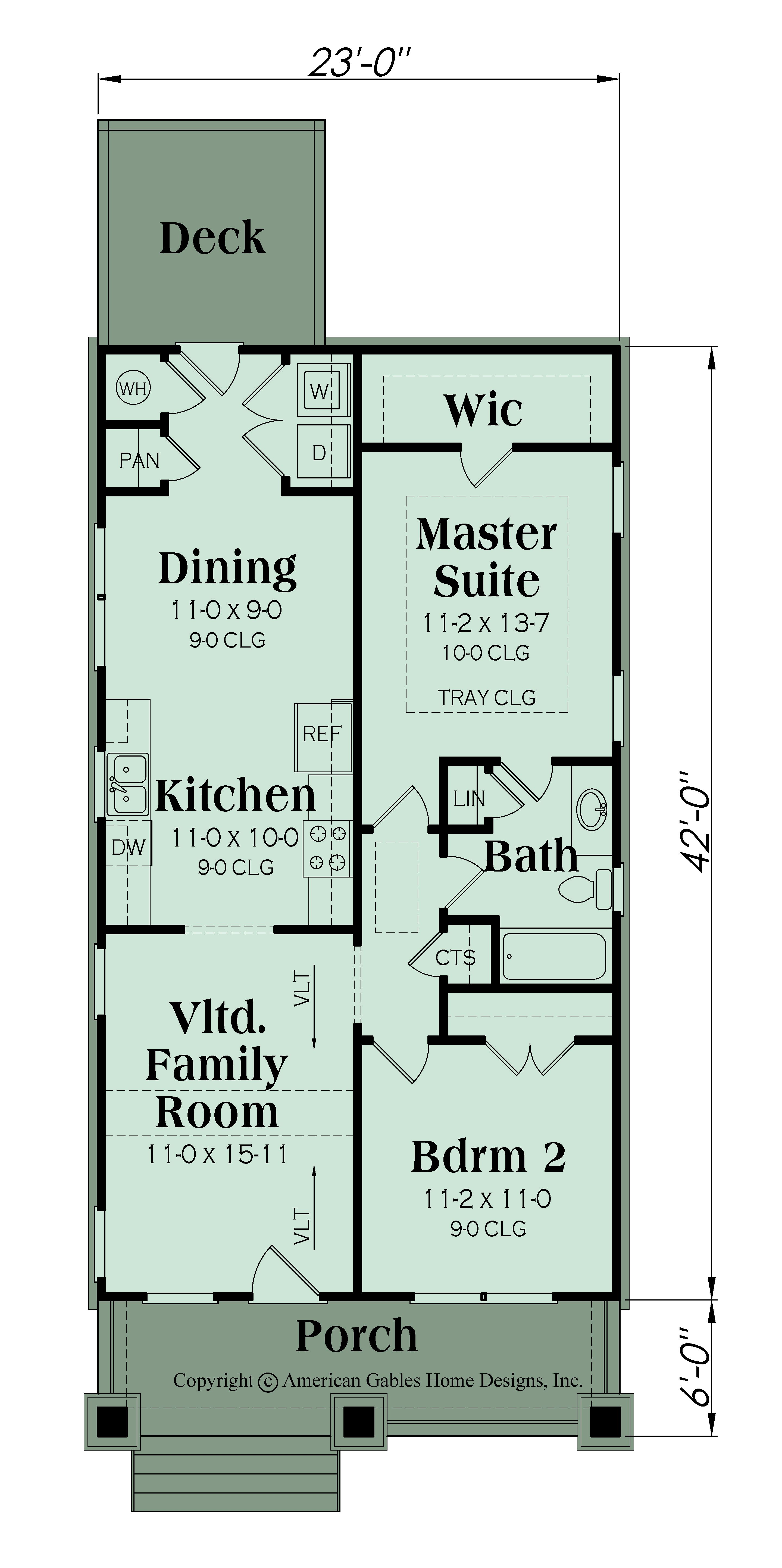 Bungalow Plan 966 Square Feet 2 Bedrooms 1 Bathrooms Roswell Narrow Lot House Plans Narrow Lot House House Plans One Story