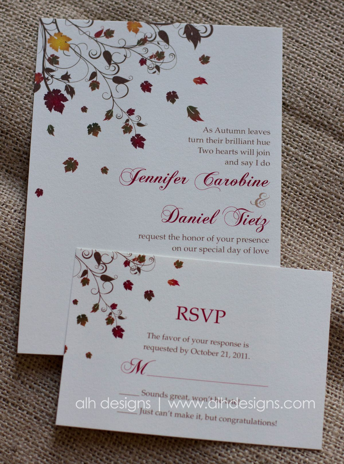 Fall themed wedding invitation | If anyone\'s ever silly enough ...