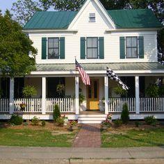yellow farmhouse green metal roof - Google Search