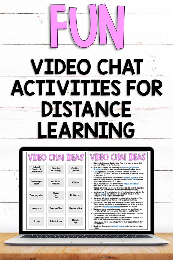 Fun Video Chat Activities To Try During Distance Learning Educate With Ease In 2020 Digital Learning Classroom Distance Learning Online Teaching