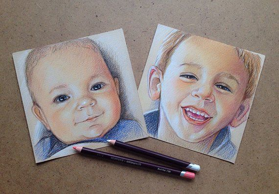 Set 6x6 Mini Custom Family Portraits Pencil Portrait Drawing