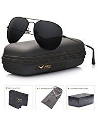 85ac010baf5 LUENX Men Aviator Sunglasses Polarized - UV 400 Protection with case 60MM  Classic Style.