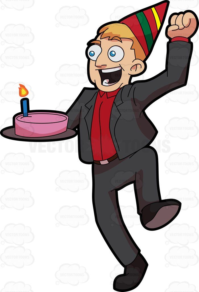 an excited man carrying a birthday cake dark grey suits rh pinterest com birthday clip art for man coworkers free birthday clipart for man