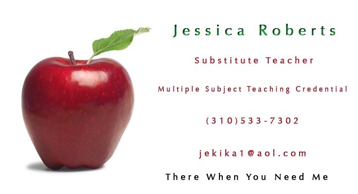 Sample substitute teacher business card teacher business cards sample substitute teacher business card chaitanyas blog cheaphphosting Gallery