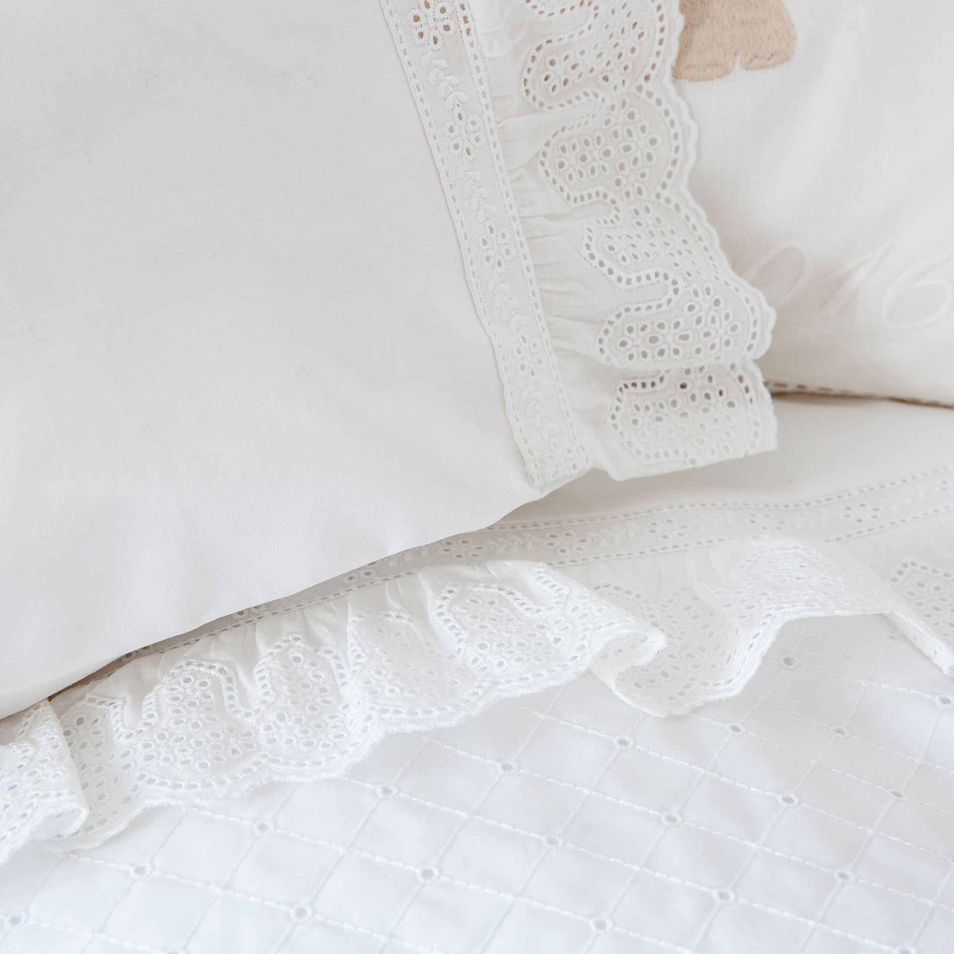 EMBROIDERED PERCALE SHEET SET FOR MOSES BASKET