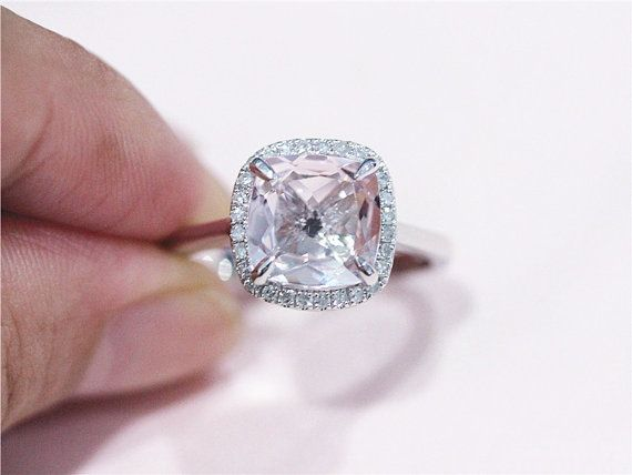 New Solid 14K White Gold 8mm Cushion Cut Pink by LoveGemArts