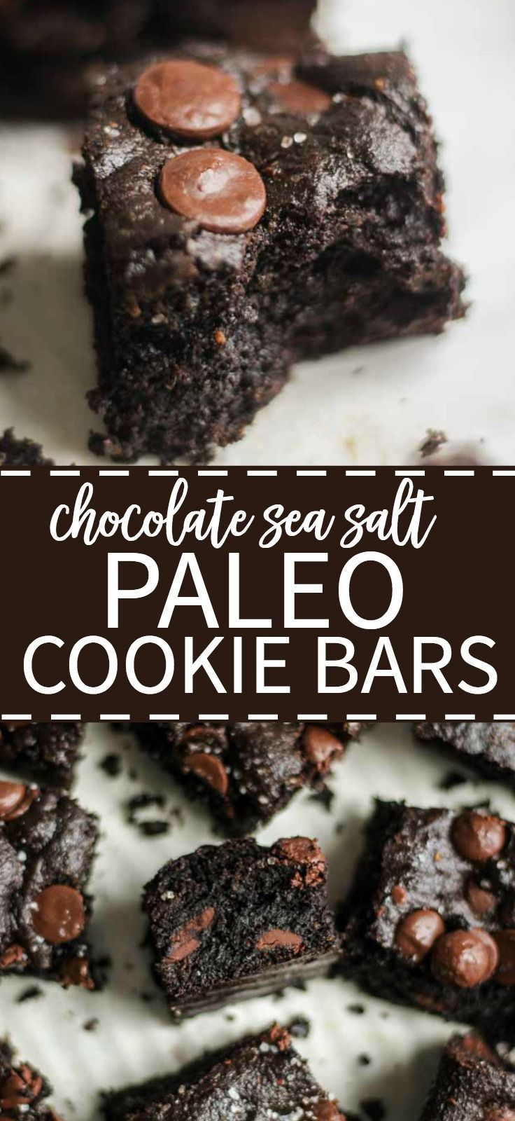 Paleo cookie bars that are so easy! This paleo recipe is made with double chocolate and sea salt with chocolate chip. They're dense and chewy and guilt free. This dessert is refined sugar free, gluten free and dairy free. Easy and healthy!
