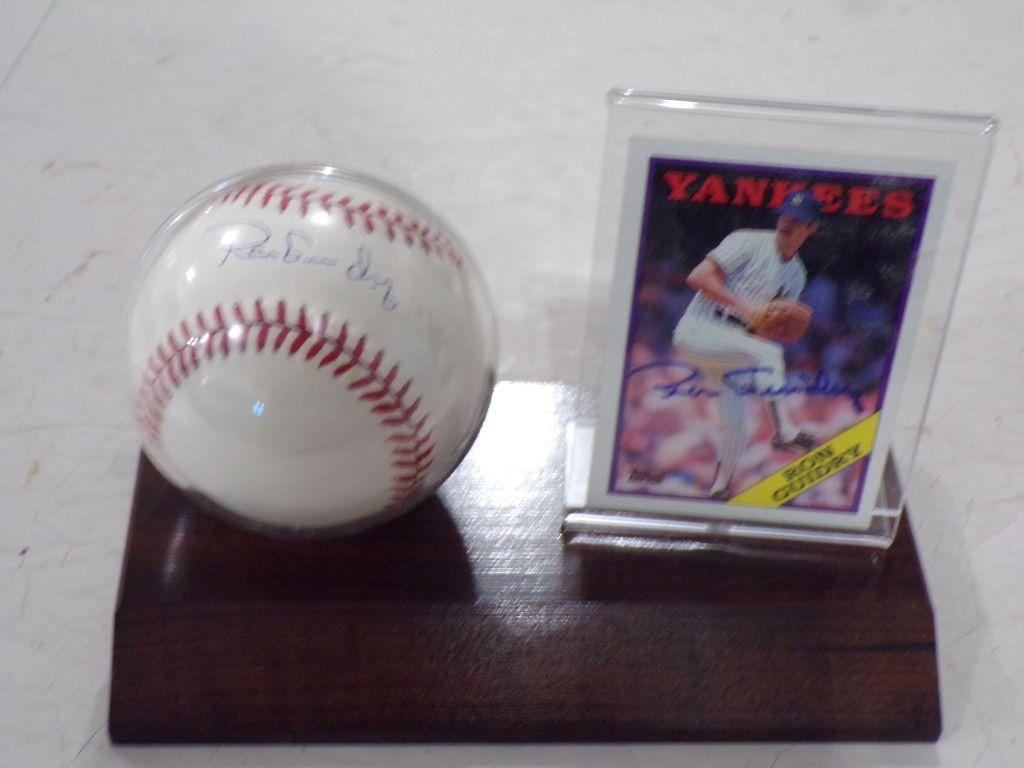 SIGNED BASEBALL & CARD RON GUIDRY Baseball cards, Card