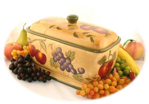 Tuscan Collection Deluxe Hand Painted Toast Bread Box Jar Home Kitchen Ceramic Bread Box Bread Boxes Vintage Bread Boxes