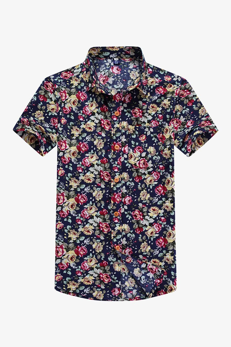 df7f82a65353 The bold floral print of this shirt adds a bit of Hawaiian style flair to  this button down men's shirt.