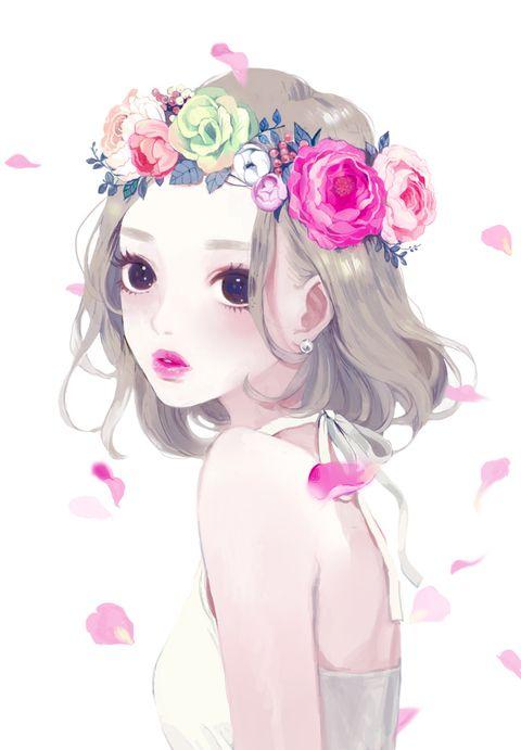 ラナンキュラスとバラの花冠 お気に入り 少女の絵 バラ イラスト Y