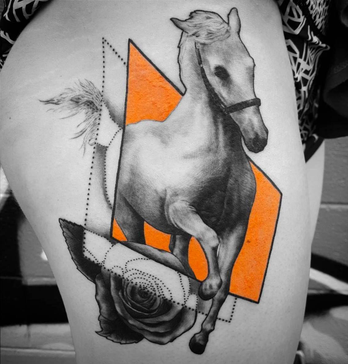 Geometric horse tattoo by alix at certified tattoo studios