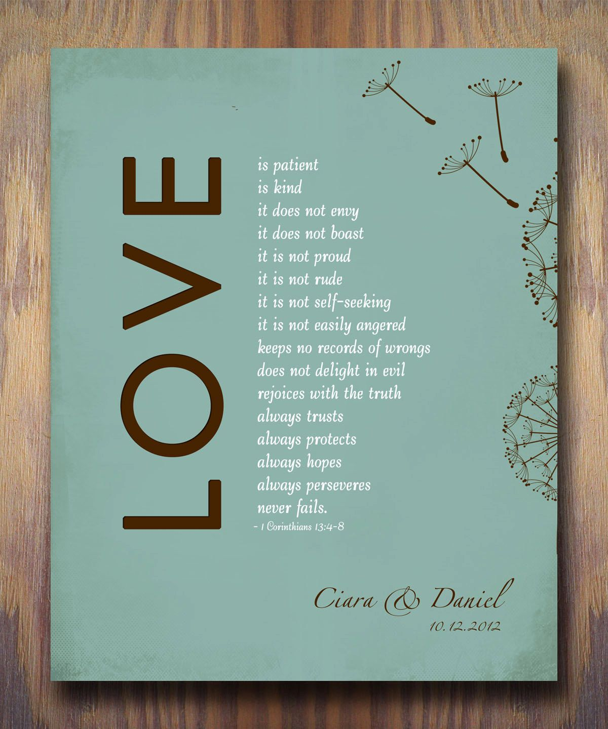 Corinthians Love Quotes 1St Wedding Paper Anniversary Gift Print 1 Corinthians 13 Love Is