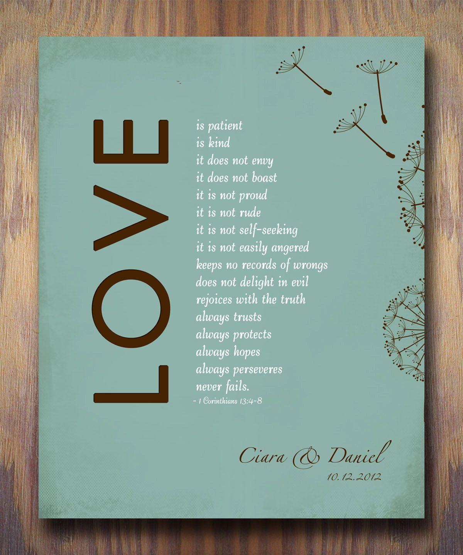 1 Corinthians 13 Love Is Patient Bible Verse Personalized Print