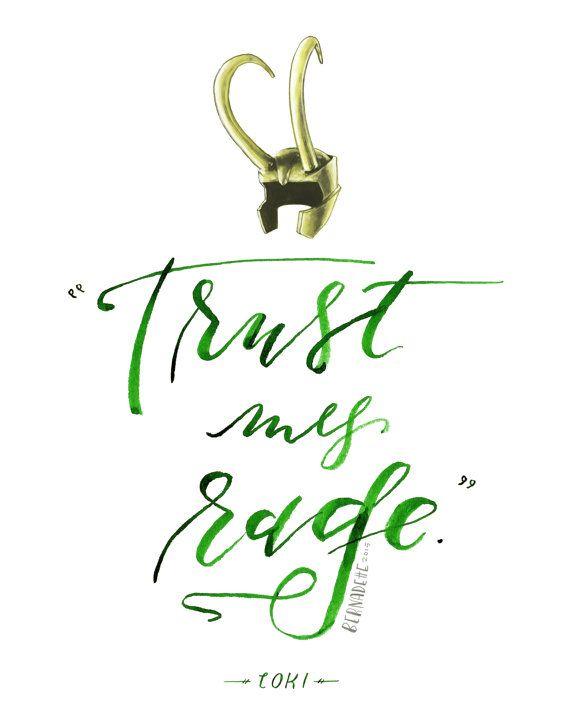 Loki Quote Print // Avengers Movie Art // Trust my Rage illustrated helmet. Hand lettered modern calligraphy by HeyBernadette