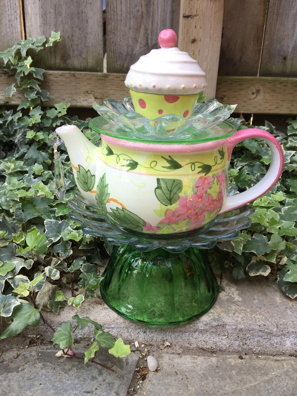Tea pot Totem, Garden Decor, Vintage Glass by FancysGarden