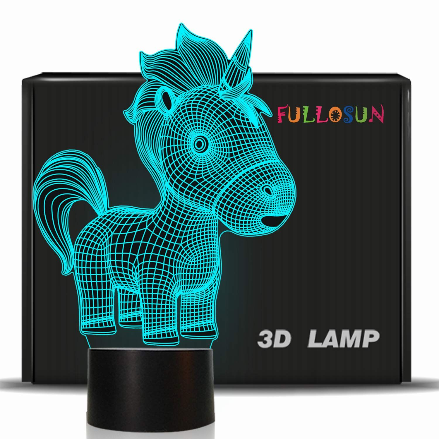 Fullosun Unicorn Gifts For Kids 3d Night Light For Girls Led 3d Illusion Lamp 7colors Changing 3d Night Light 3d Illusions Night Light