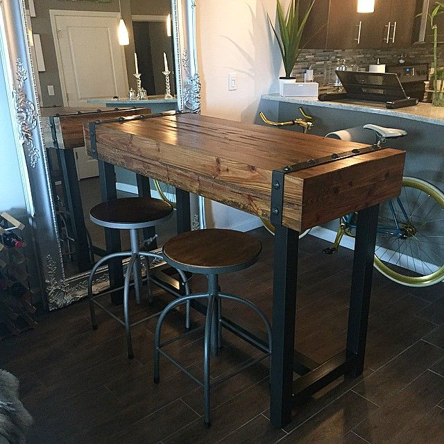 Industrial style bar height table our portfolio for Pub style kitchen table