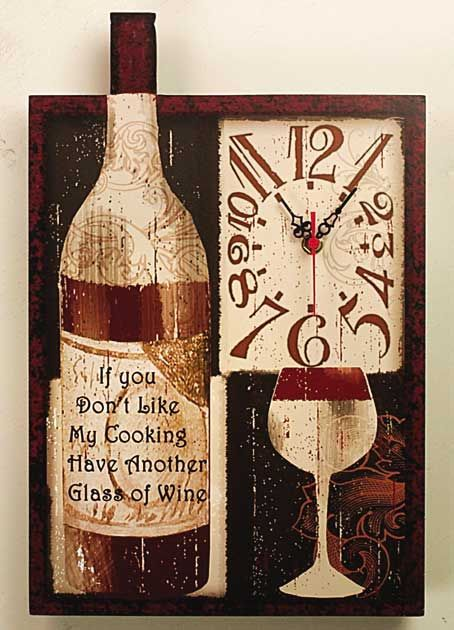 Good Wine And Food Wall Clock Kitchen Wall Clocks Kitchen Themes