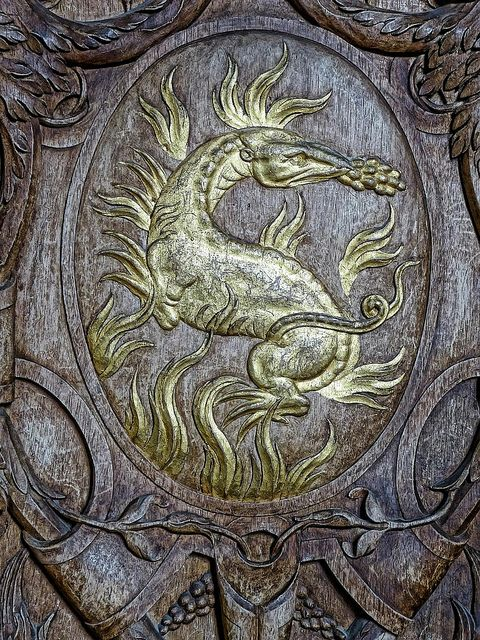 Gilded Dragon on carved woodwork in the Francois I Gallery at Fontainebleau | Flickr - Photo Sharing!
