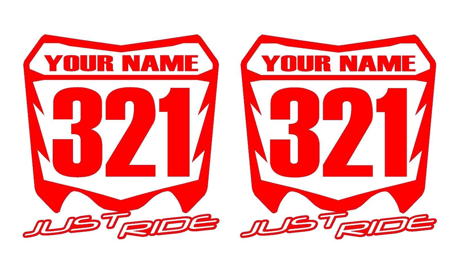 Details About Motocross Number Plate Decal Sticker Custom Name
