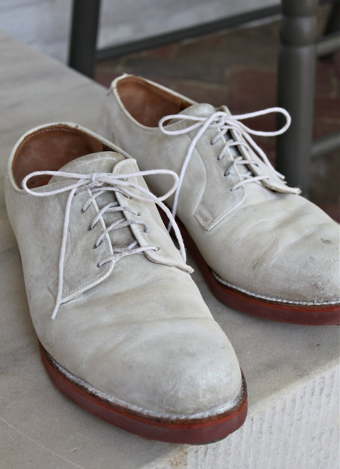 laced suede or buckskin shoes