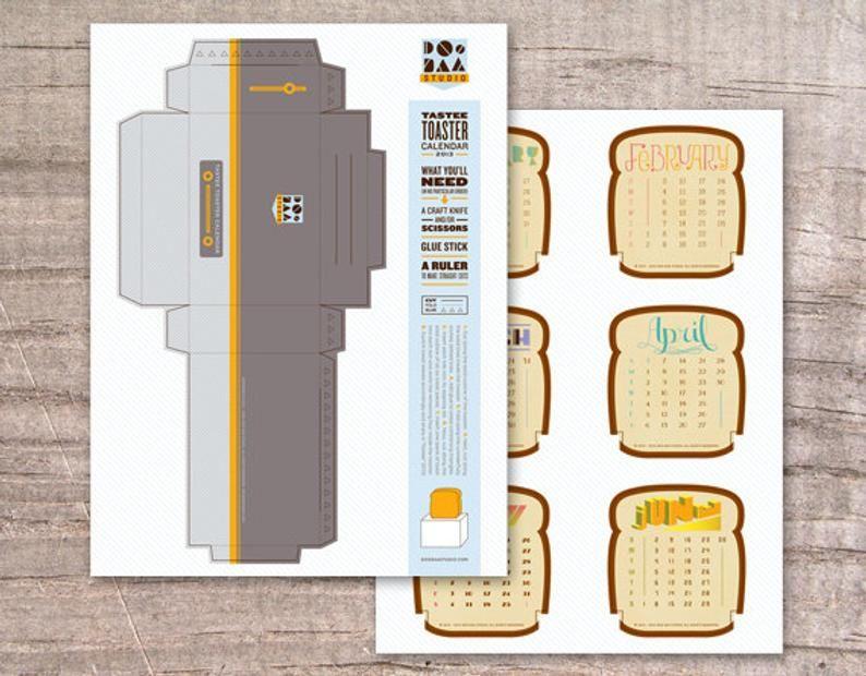 Tastee Toaster Desktop Calendar 2019 (Paper Toy)