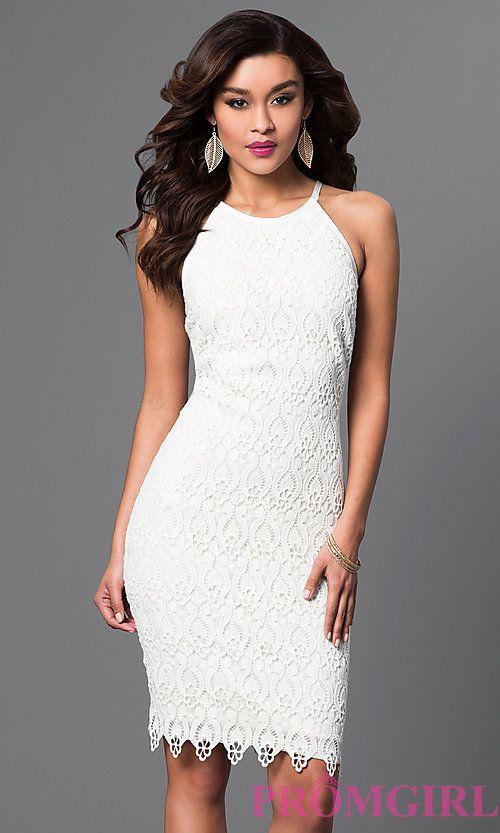 fad7b3152c Image of white lace knee-length spaghetti-strap short dress Style:  JU-MA-262419 Front Image