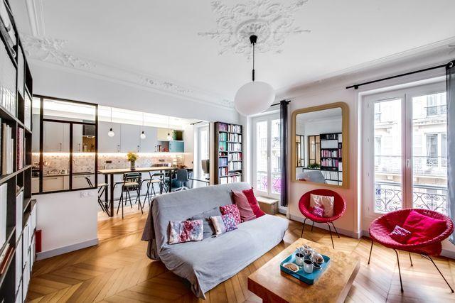 Nouveau souffle pour cet appartement haussmannien réalisé par l'architecte d'intérieur Sara Camus Bouanha