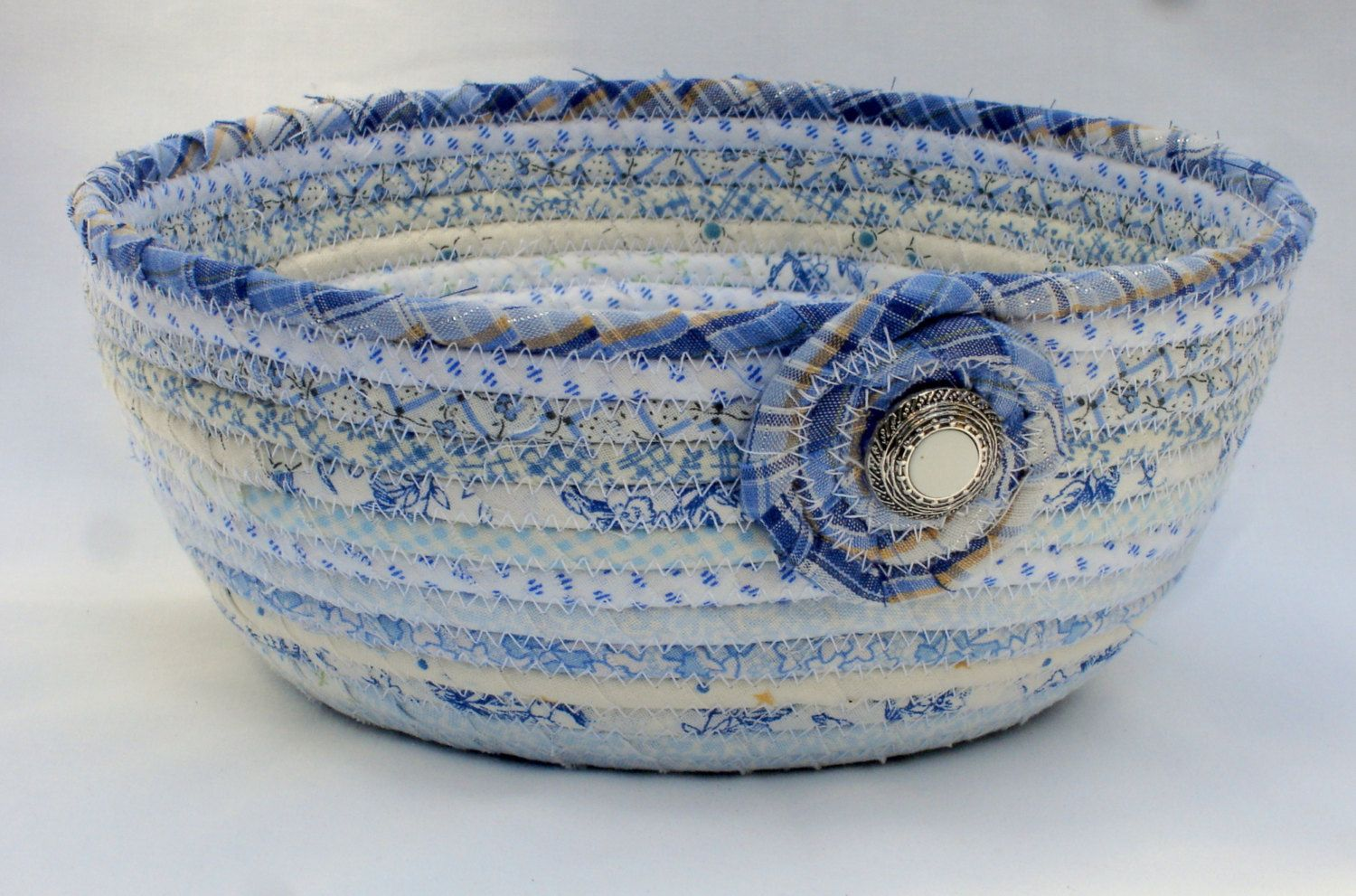 Coiled Fabric Bowl Low Volume Blue by zizzybob on Etsy