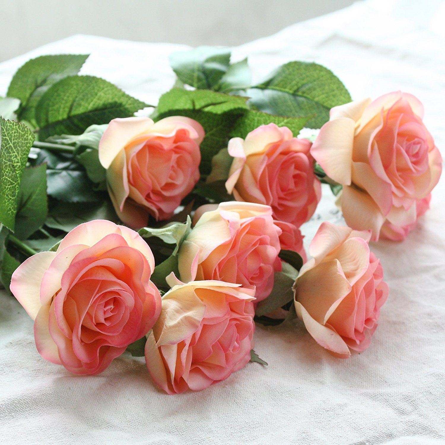 Silk Artificial Like Real Roses Bouquet Latex Real Touch Flowers For