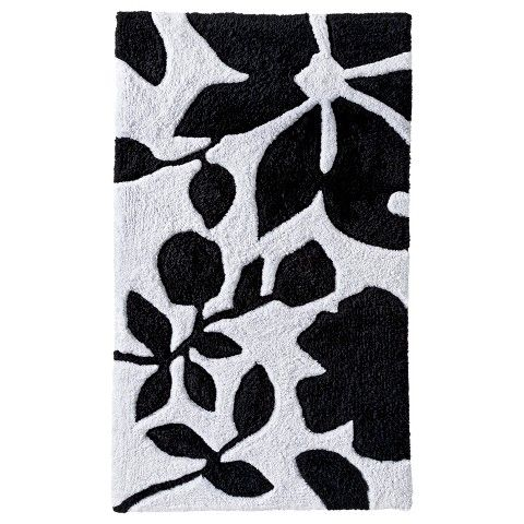 Room Essentials Floral Bath Rug BlackWhite X Home - Target black and white bath rug for bathroom decorating ideas