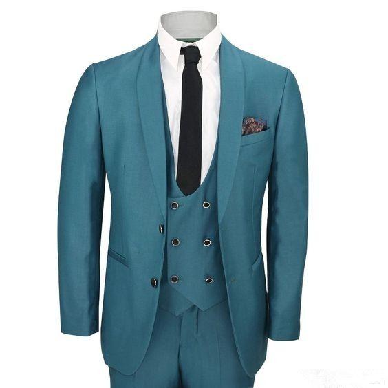 Latest Coat Pant Design Blue Shawl Lapel Men Suit Double Breasted ...