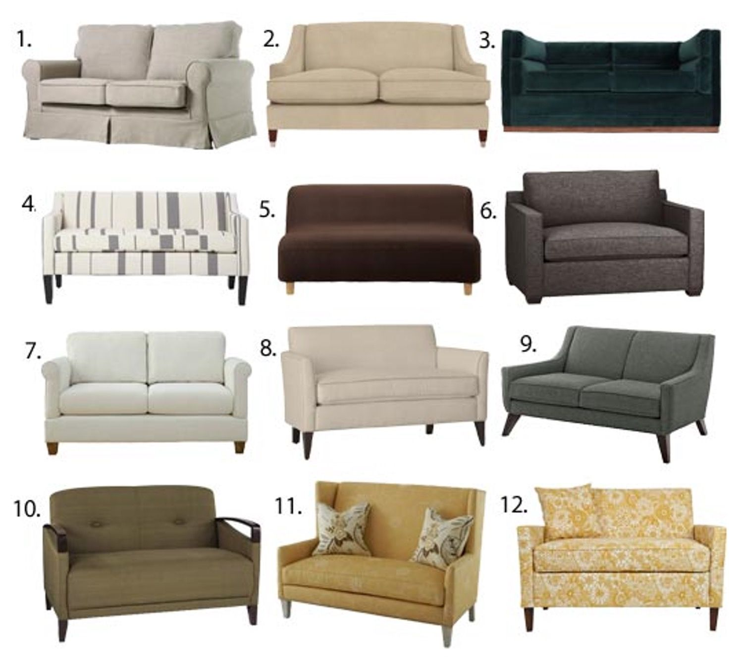 Small Space Seating Sofas Loveseats Under 60 Inches Wide Small