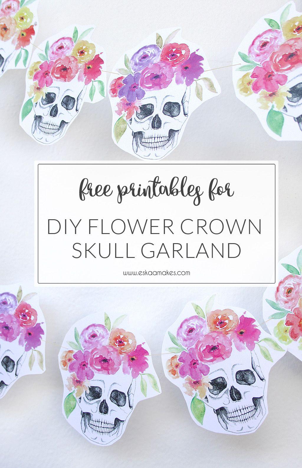 Free printables halloween flower crown skull garland diy flower free printables halloween flower crown skull garland izmirmasajfo Image collections