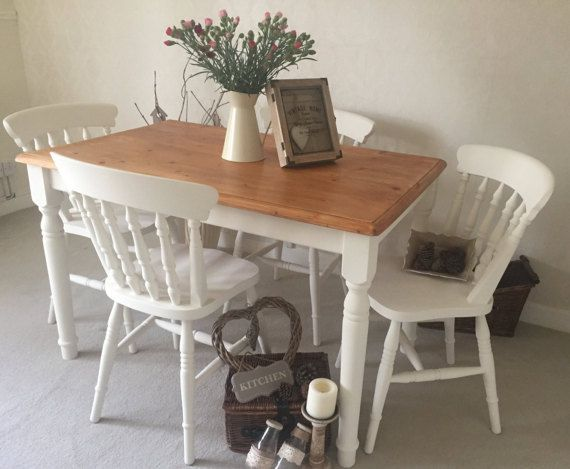 Shabby Chic Farmhouse Table And Chairs Kitchen Dining Table And 4 Cha Shabby Chic Kitchen Table Shabby Chic Kitchen Chairs Shabby Chic Kitchen Table And Chairs